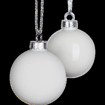 Lot de boules en verre blanches 10 pièces D6cm-jurdain