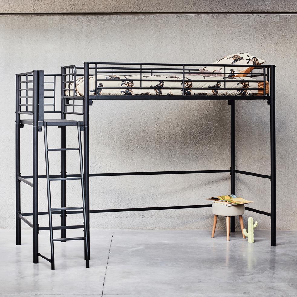 Lit mezzanine 1 place Noir avec plateforme - 90x200 cm-ALEXY