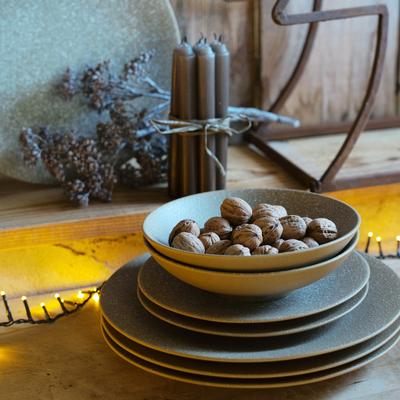 Assiette creuse en grès beige D21cm-FLINGSTONE
