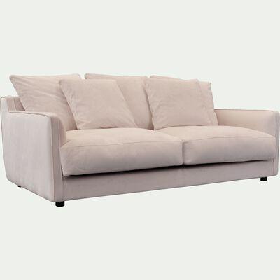 Canapé fixe 3 places en velours beige roucas-LENITA