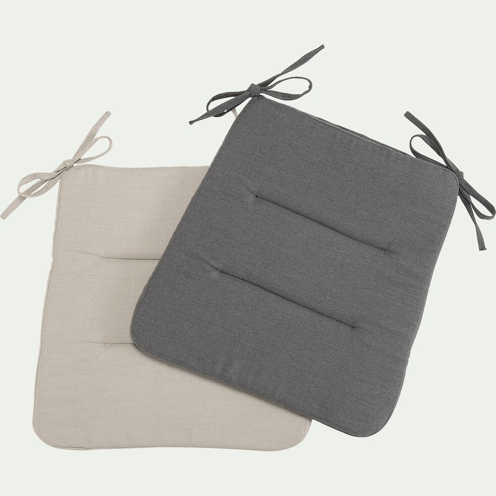 Galette de chaise indoor & outdoor en tissu - gris ardoise-TOPO