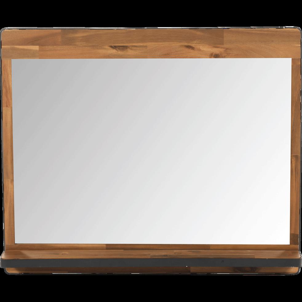 Miroir rectangulaire de salle de bains en acacia et métal 90cm ...
