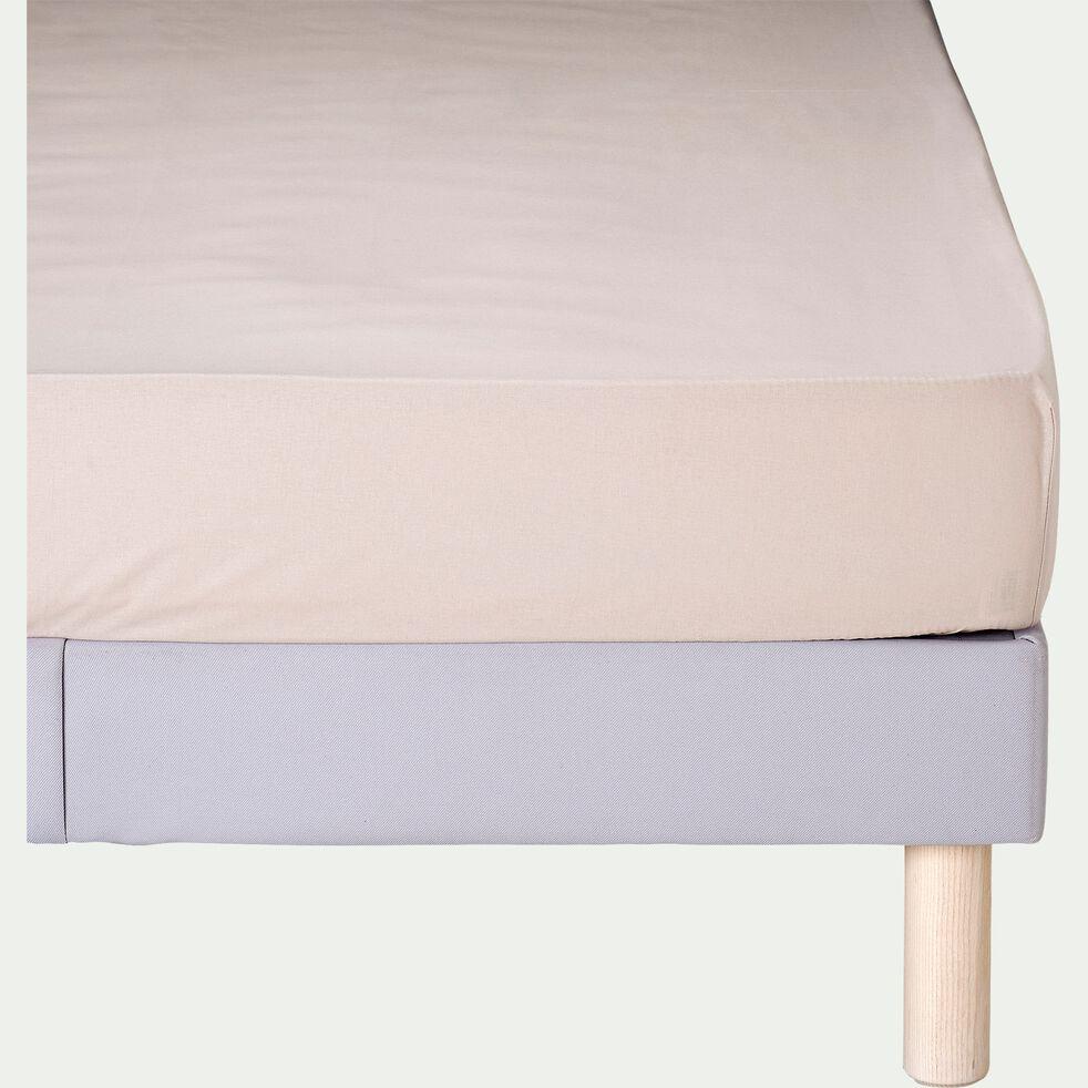Drap housse en coton - beige alpilles 160x200cm B25cm-CALANQUES