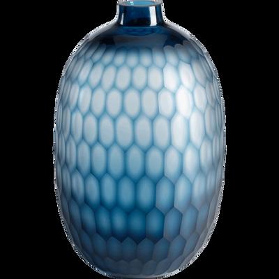 Vase en verre bleu H32 cm-CAPAS