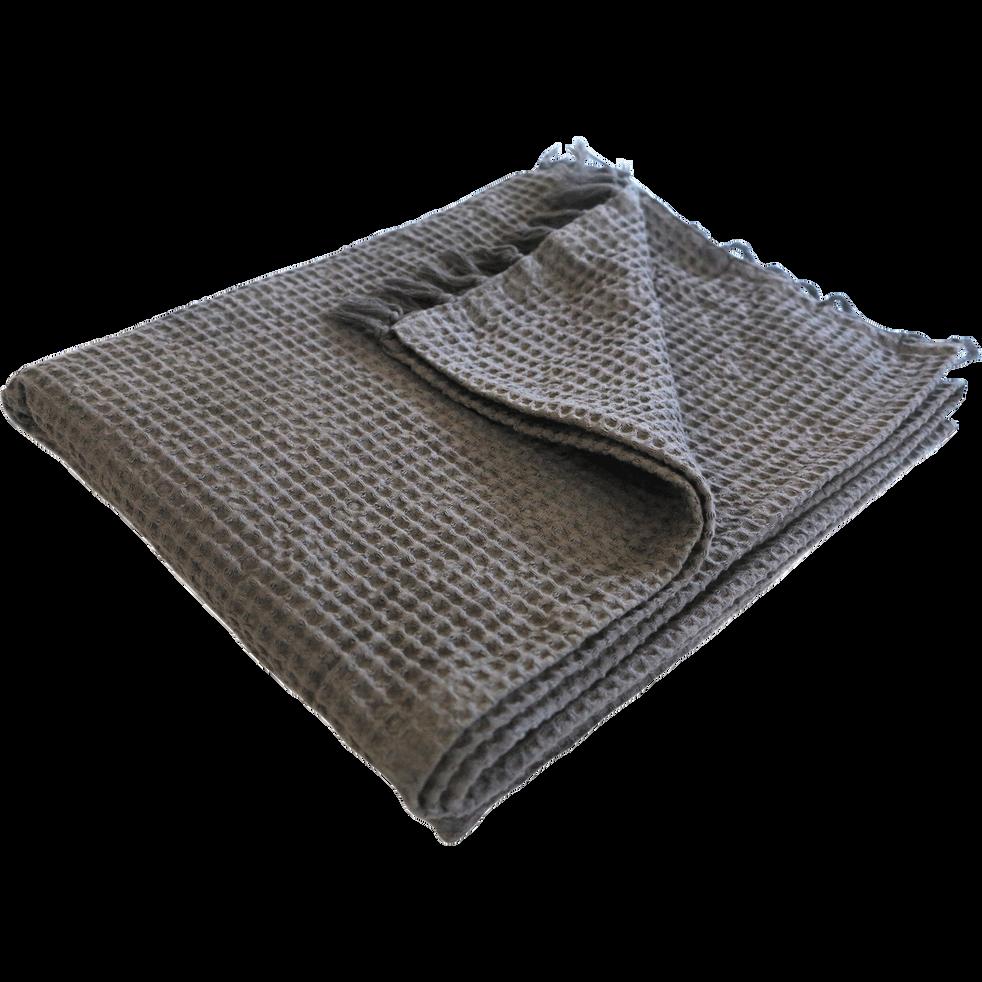 Plaid en coton gris effet nid d'abeille 130x150cm-HONEY