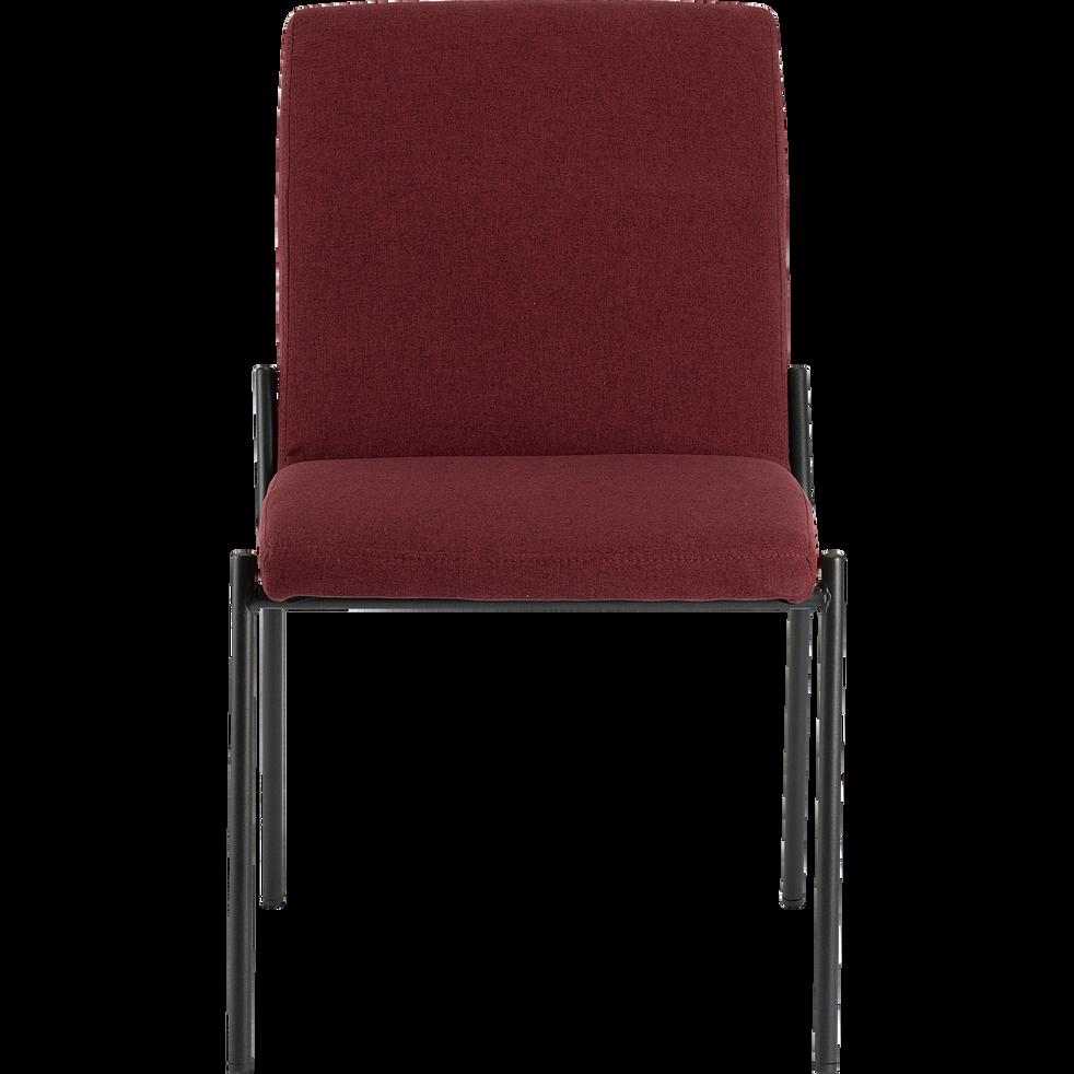 Chaise en tissu rouge sumac pieds noirs-JASPE