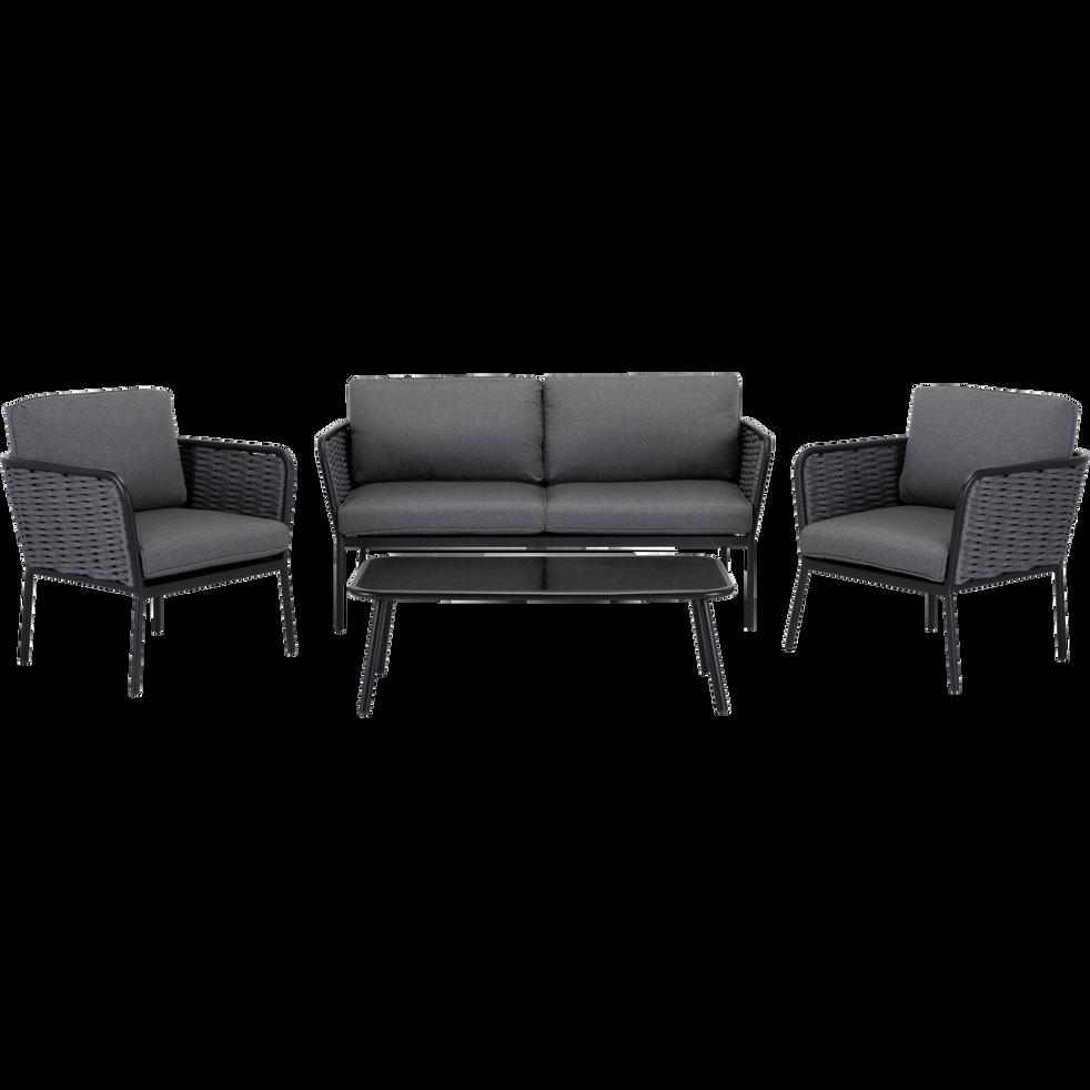 SARTENE - Salon intérieur/extérieur en aluminium gris (4 places)