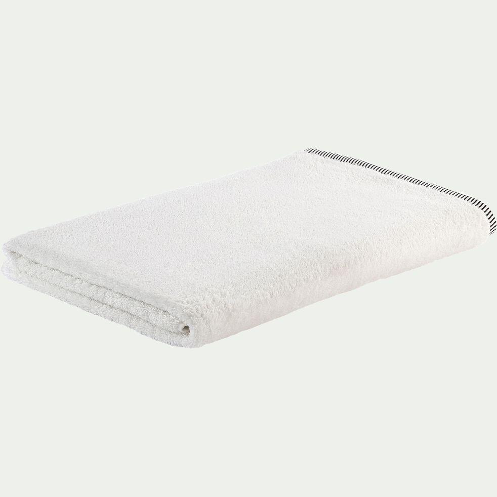 Drap de bain brodé en coton - blanc ventoux 100x150cm-Romane