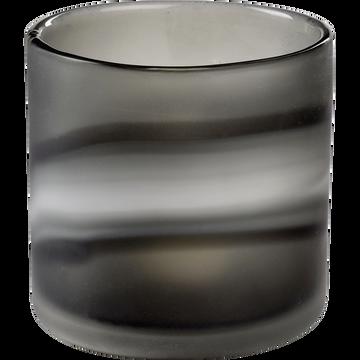 Photophore en verre reflets nacrés gris-AMELIA