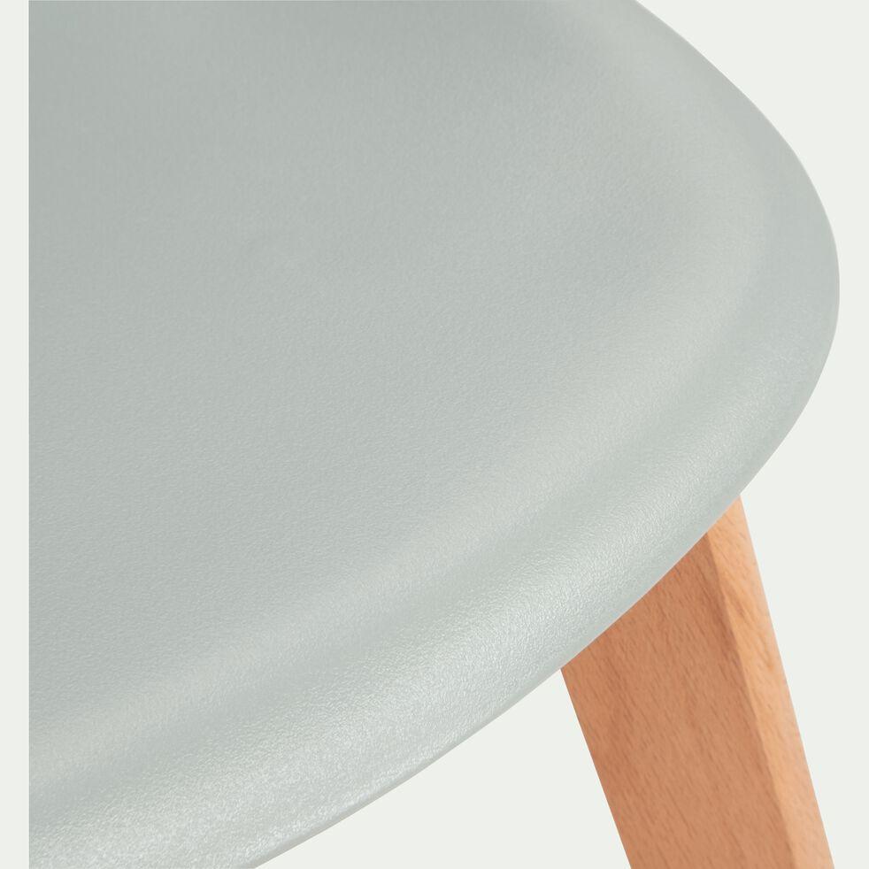 Chaise enfant assise plastique et pieds en hêtre - gris-NORA