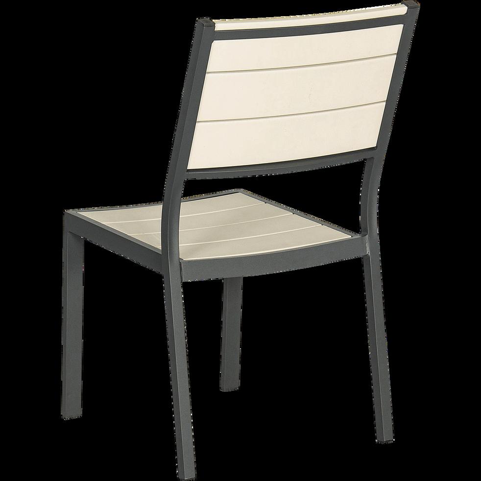 Chaise de jardin empilable grise en bois composite-GILLES