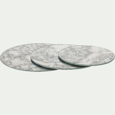 Plateau de décoration effet miroir vieilli en verre - gris D20cm-ADAMO