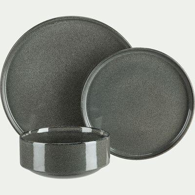 Assiette creuse en grès émail réactif - vert olivier D15,5cm-PIETRA