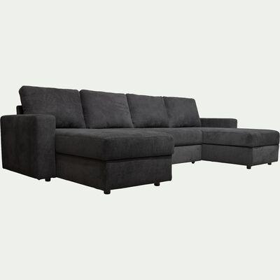 Canapé en U convertible en tissu - gris ardoise-HONORE