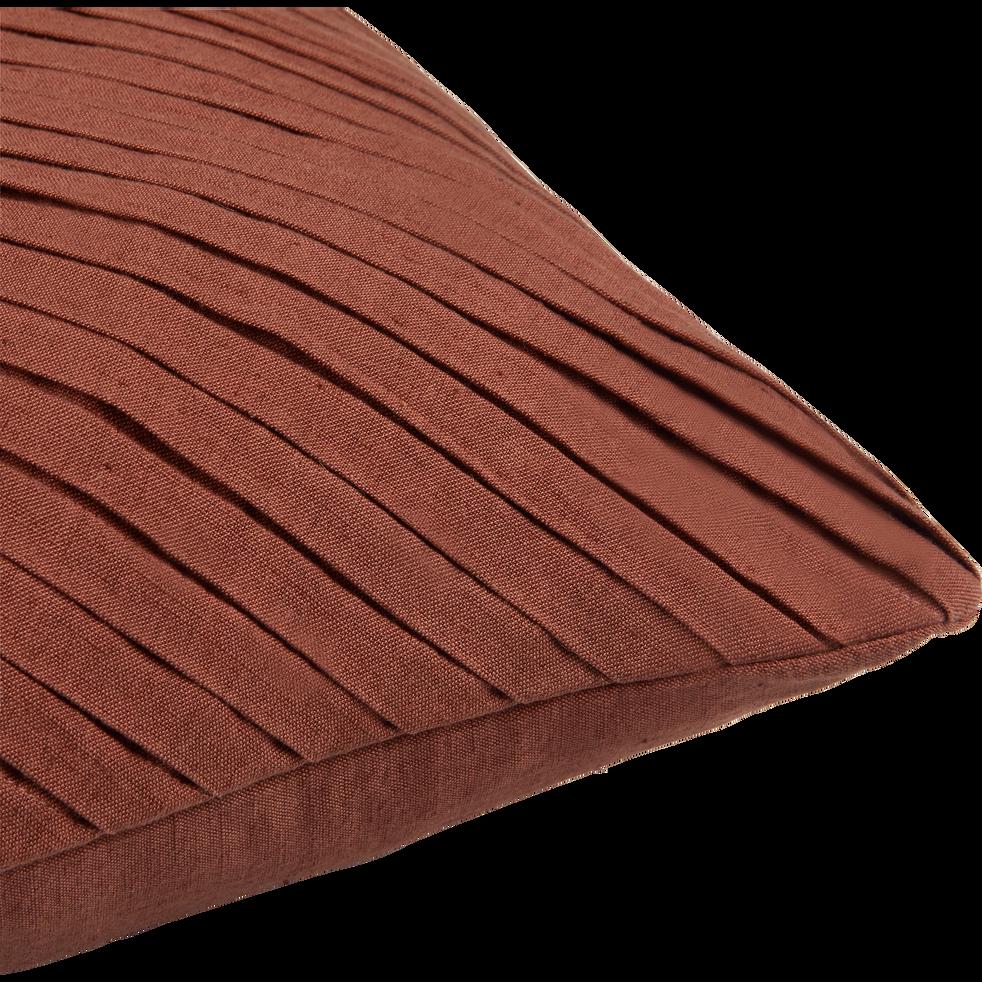 Coussin plissé en lin et coton rose 40x40cm-ALICE