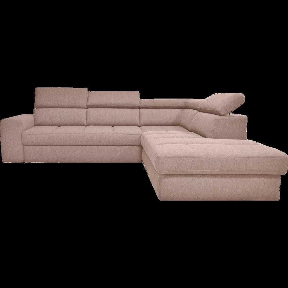 Canapé d'angle droit panoramique convertible en tissu grège-TONIN