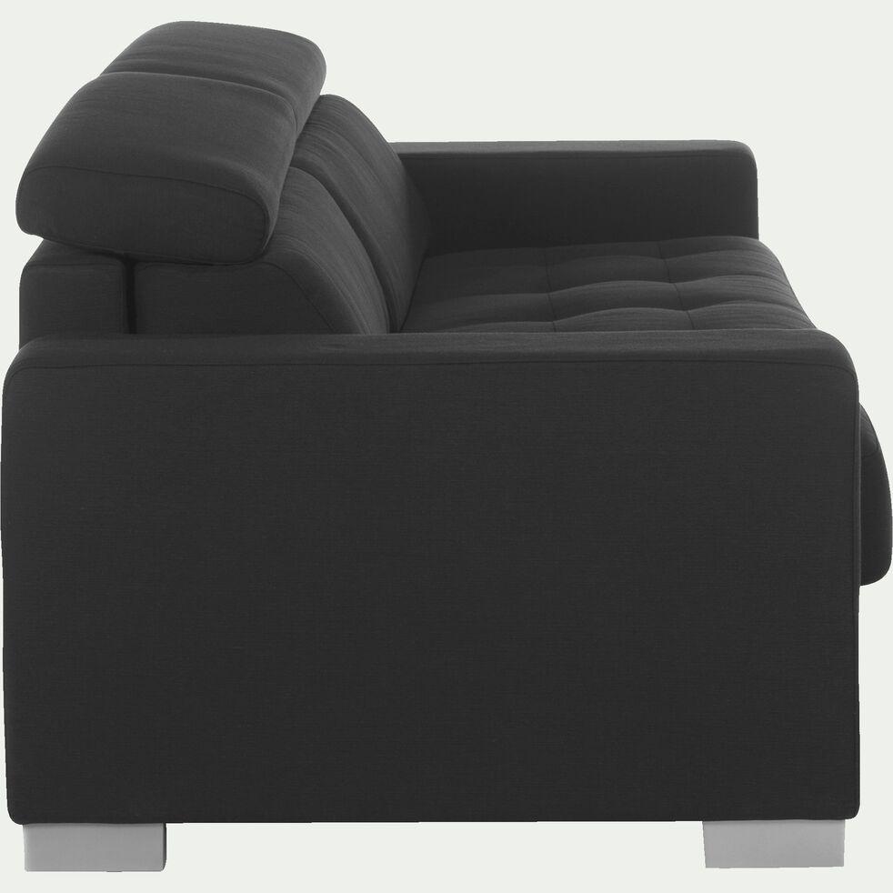 Canapé 3 places convertible en tissu - gris foncé-Mauro