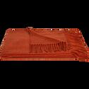 Plaid acrylique frangé orange 130x170cm-HONORE