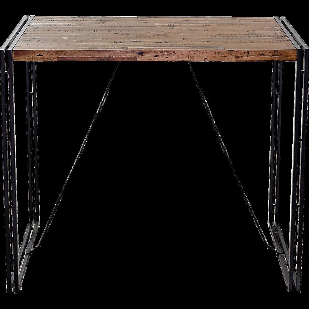 Table haute rectangulaire plaquée bois et métal vieilli - L130cm ...