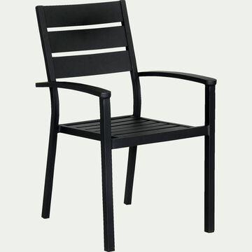 Chaise de jardin empilable en aluminium avec accoudoirs - noir-MARIA
