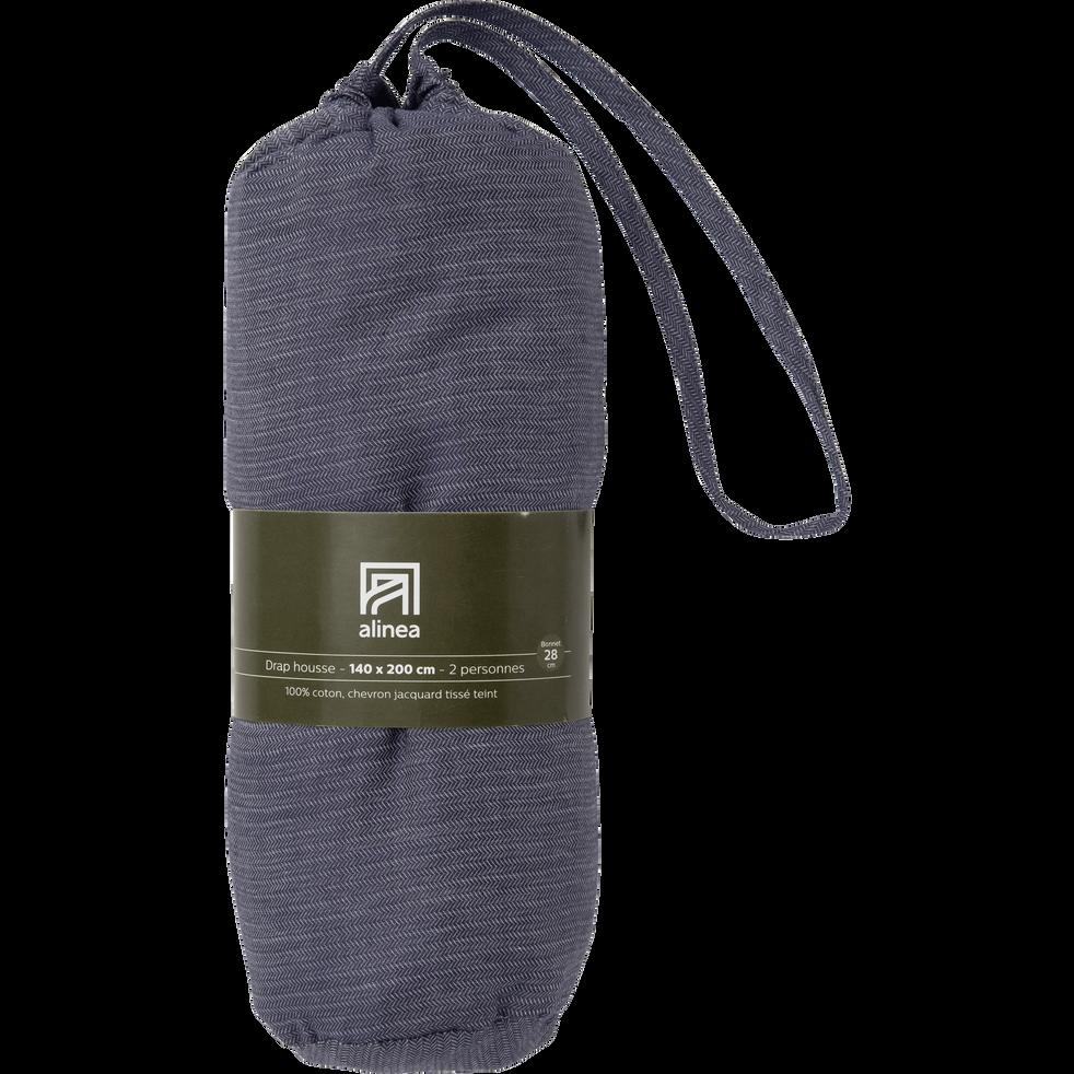 Drap housse en coton supérieur Gris anthracite - 160x200 cm-CLARO