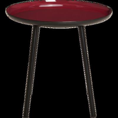 Bout de canapé en acier epoxy avec plateau rouge sumac émaillé-VITOUR