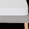 Drap housse en percale de coton blanc 140x200cm bonnet 25cm-FLORE