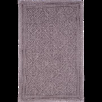 Tapis de bain en coton 50x70cm piquage en losanges gris restanque-SADOU