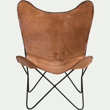 Housse de fauteuil butterfly en cuir camel - structure non incluse-BUTTERFLY