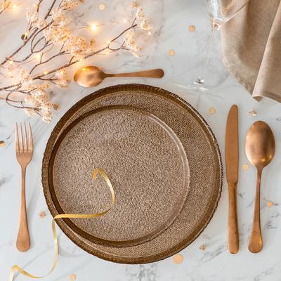Assiette plate en verre doré D27cm-AMIRA