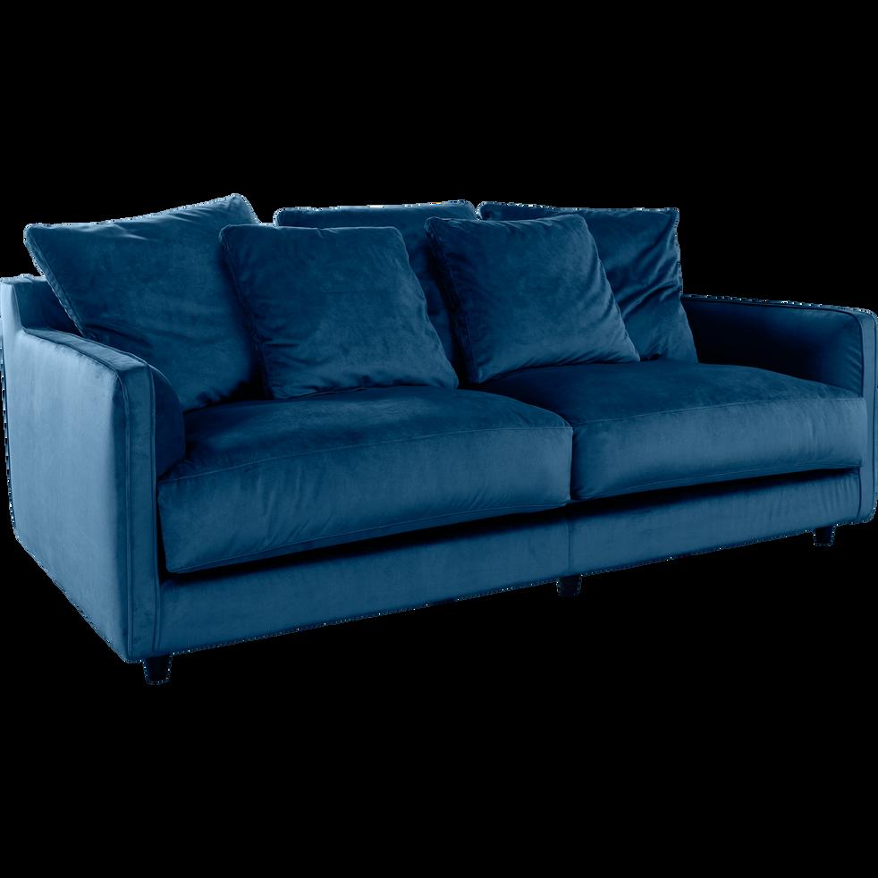 canap 3 places fixe en velours bleu figuerolles lenita. Black Bedroom Furniture Sets. Home Design Ideas