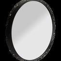 Miroir rond en bois noir D30cm-OUNDO