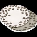 Assiette plate en porcelaine verte à motifs feuilles de figuier D27cm-FIGUIER