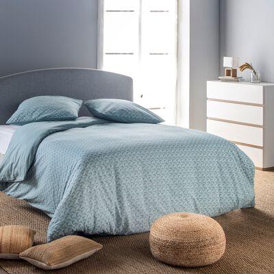 Housse de couette et 2 taies d'oreiller en coton motif géométrique - bleu 240x220cm-BOOMERANG