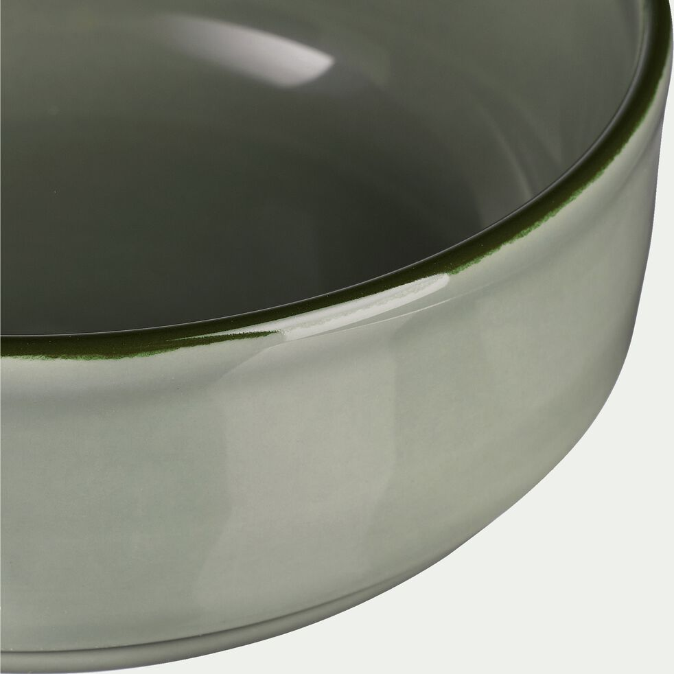 Assiette creuse en faïence vert olivier D16cm-LANKA
