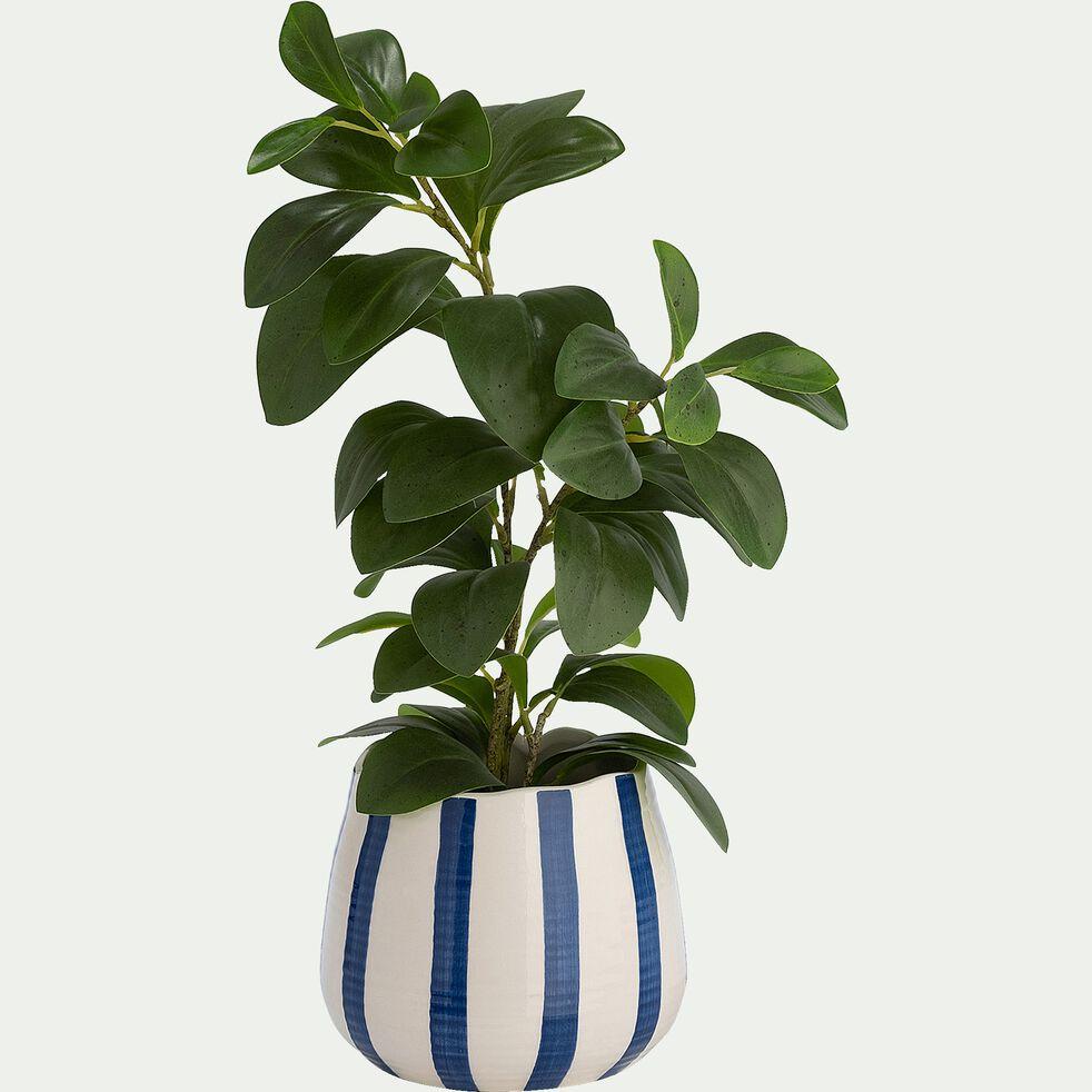 Vase rayé en céramique - bleu et blanc D13xH15,5cm-TIAGO