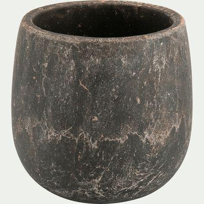 Cache-pot en ciment noir H18xD18 cm-BARI