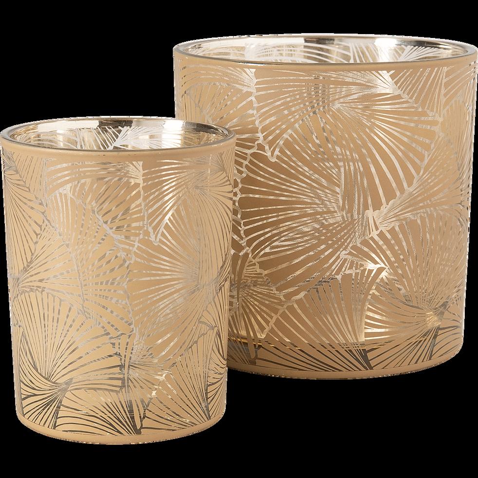 Photophore en verre motif palmier H15cm-Bagong