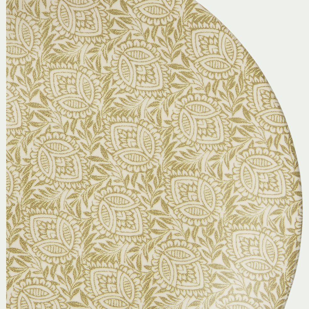 Assiette plate en grès jaune décoré D26cm-AMANDE