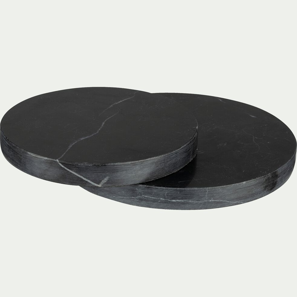 Plateau rond en marbre - noir D15cm-AMAURY