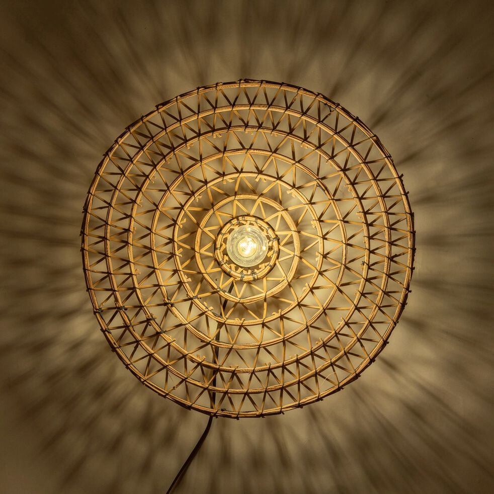 Applique murale électrifiée en fibres de palmier tressées - D50cm naturel-ORIA