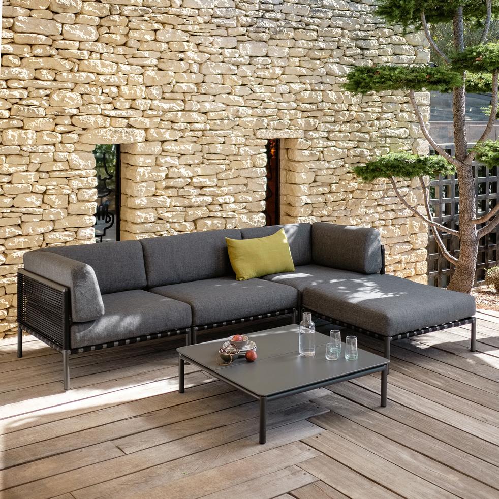 ALEX - Fauteuil de jardin en aluminium gris anthracite