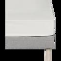 Drap housse en coton Blanc capelan - 2x80x200cm-CALANQUES