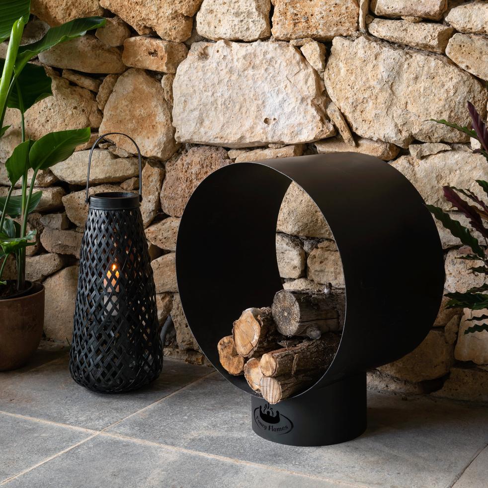 Panier à bûches en acier noir H72cm-ANDERA