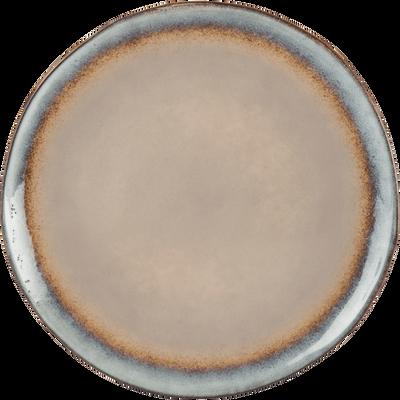 Assiette plate en grès taupe D28cm-LUEUR
