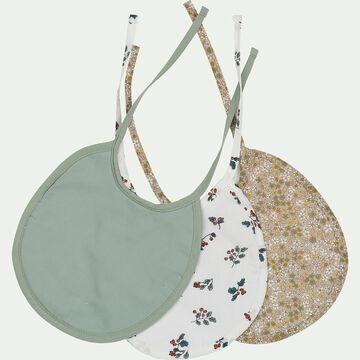 Lot de 3 bavoirs de repas bébé en coton bio avec imprimé - multicolore-Plume