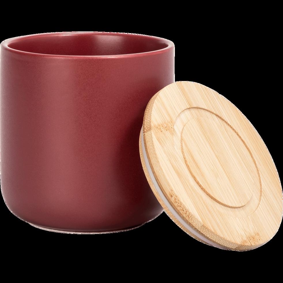 Pot en porcelaine rouge avec couvercle en bambou D10xH11 cm-JAN