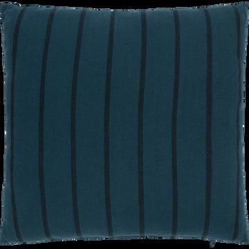 Coussin à rayures en coton chambray bleu figuerolles 45x45cm-DENIS
