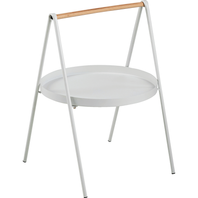 Bout de canapé rond en métal blanc et bois-SLOP