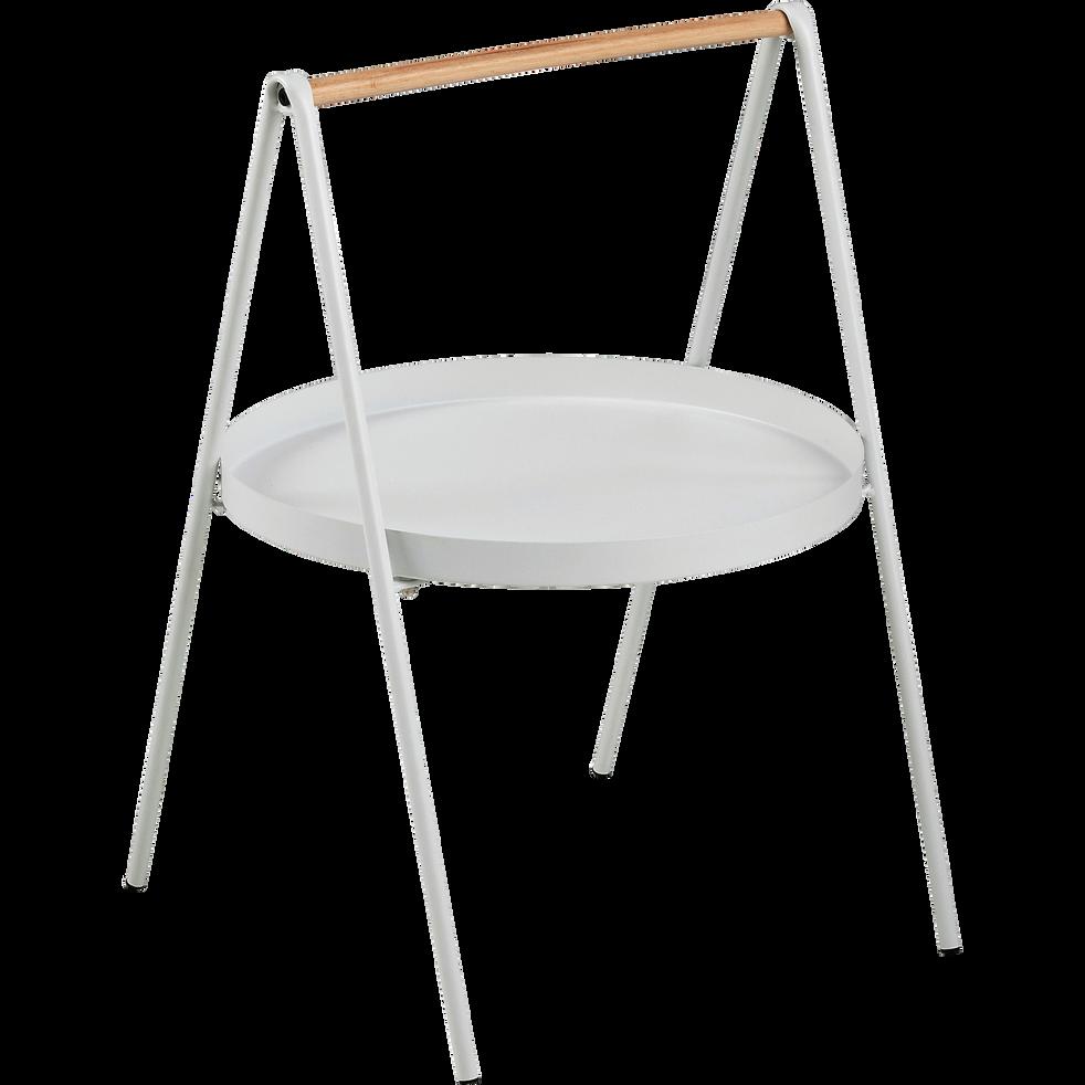 bout de canap rond en m tal blanc et bois slop bouts de canap alinea. Black Bedroom Furniture Sets. Home Design Ideas